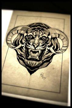 Illustration-tattoo on sketch (on paper) by Egor Kulikov