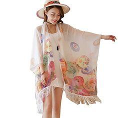 McupperNEW WOMENS BUTTERFLY PRINT TASSEL KIMONO DRESS SUMMER HOLIDAY WEAR  BEACH COVERUP umbrella white   Click 6ebb03498