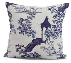 Floral Chinoiserie Pillow, Navy | One Kings Lane Floral Pillows, Linen Pillows, Throw Pillows, Decorative Pillows, Colorful Pillows, White Pillows, Cushions, White Family Rooms, Motif Oriental