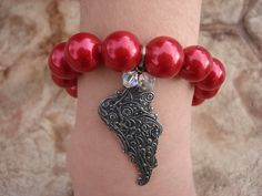 Winged Charm Bracelet// Red Chunky Pearl by MakeMeSmileJewelry,