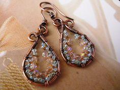 Vintage Copper Woven Earrings - Celtic Earrings - Celtic Jewelry - Copper wire wrap earrings. $18.00, via Etsy.