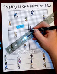 Lines & Zombies ~ Slope Intercept Form Zombies & Graphing Lines sounds like fun! My Grade Math & Algebra students would love this activity!Zombies & Graphing Lines sounds like fun! My Grade Math & Algebra students would love this activity! Algebra Activities, Maths Algebra, Math Tutor, Math Resources, Math Games, Numeracy, Algebra Help, Graphing Worksheets, Grade 6 Math