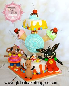Can't believe my little one is 2 today,where did all the time go! Here is the cake that I made for him,he loves this character Bing and not forgetting how much he loves Ice-cream and sweets……. 3rd Birthday Cakes, Baby Girl Birthday, Bing Cake, Bing Bunny, Prince Party, Birthday Cake Decorating, Girl Cakes, Party Cakes, First Birthdays