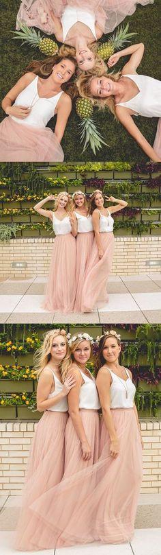 blush pink long bridesmaid dress,2017 bridesmaid dress, two piece bridesmaid dress,blush pink maxi dress and white straps