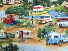 Vintage Trailers Camping Summer Scenic Retro Elizabeth's Studio Fabric BTY #5505 #ElizabethsStudio