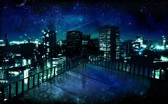 Outer Space Cityscapes Night Stars Alone Balcony Buildings City Lights Artwork Manga Landscape Wallpaper