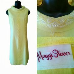 Iconic 1960s Dress, Lemon Yellow with Beading and Sequins, Size 9, Metal Zipper in Excellent Condition www.vintagefashionandart.com
