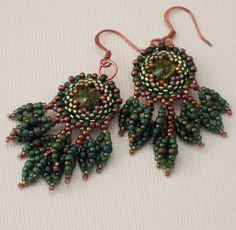 In the Forest Primeval Earrings by HauteIceBeadwork on Etsy, $60.00