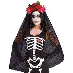 Dreamgirl 10003 Day Of The Dead Headband With Veil ($16) ❤ liked on Polyvore featuring accessories, hair accessories, hair band headband, hair band accessories, head wrap headband, headband hair accessories and head wrap hair accessories