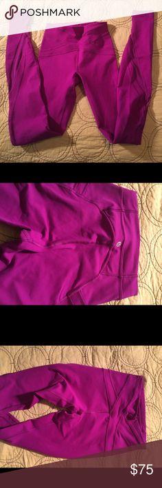 Lululemon high rise full-length leggings w/mesh Lululemon beautiful not at all faded purple full length leggings with mesh detail. lululemon athletica Pants Leggings