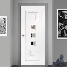 Door and Frame Kit - Altino Door - Clear Glass - White Primed Kitchen Glass Doors, Glass Barn Doors, Wooden Doors, Cheap Interior Doors, Door Design Interior, Interior Decorating, Contemporary Doors, Modern Door, Safe Glass