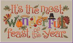 Sue Hillis The Most Wonderful Feast - Cross Stitch Pattern. It's the most wonderful feast of the year! Model stitched on 28 Ct. Sage/Summer Khaki Jobelan fabric