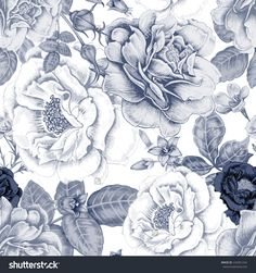 Vector seamless background. Design for fabrics, textiles, paper, wallpaper, web. Roses, peonies, anemones, bluebells. Retro. Vintage style. Floral ornament.