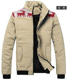 Stand Collar Long Sleeve Men Beige Cotton Coat M/L/XL/XXL @1802SJyf02be