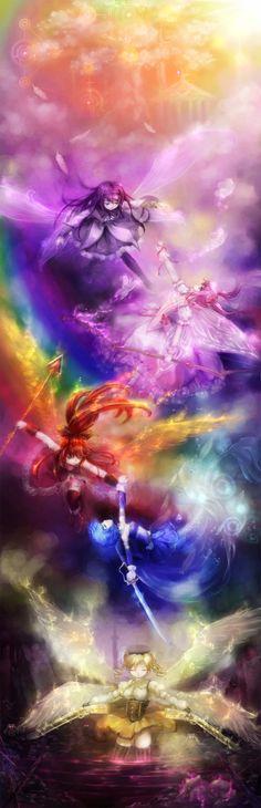 Absolutely gorgeous Madoka Magica rainbow artwork!