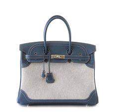 21ec3c014904 Hermes Birkin Ghillies 35 Blue PHW - See more pics   baghunter Hermes Bags