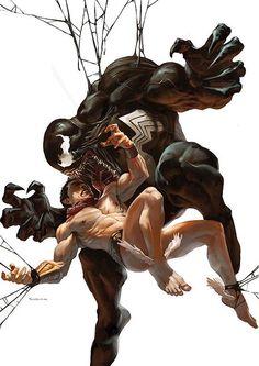 Namor in the hands of Venom by Marko Djurdjević.