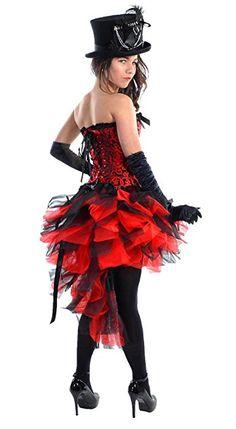 Burlesque Mardi Gras Steam Punk Black Red Skirt (UK 16 US 14 EU 46.)