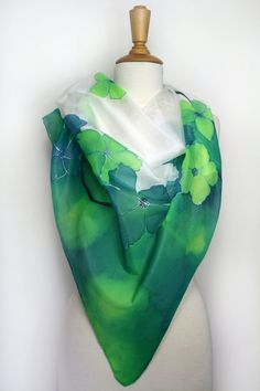 Silk scarf. Hand painted silk scarf. Green floral silk scarf.