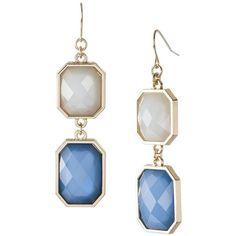 2 Tier Stones Drop Earrings - Blue
