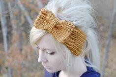 crochet bow headband by peoplewebs on Etsy