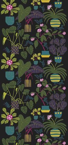 Marimekko Marimekko  Ikkunaprinssi Wall Mural Foliage/Yellow/Turquoise/Black - KIITOSlife - 1