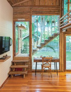 A Bamboo House Embraced by Nature - Bamboo House Design, Tropical House Design, Tropical Houses, Bamboo Architecture, Residential Architecture, Architecture Design, Rest House, House In The Woods, Style Tropical