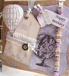 Mixing stamps and die cuts Balloon Ribbon, Air Balloon, Shabby Chic Cards, Step Cards, Card Making Tutorials, Happy Birthday Me, Vintage Cards, Balloons, Decorative Boxes
