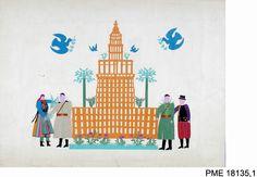Wycinanka z Łowicza, 1955 r. Pałac Kultury i Nauki w Warszawie, fot. E. Koprowski, z kolekcji PME w Warszawie #60pkin #pkin #palackultury #ethnomuseum #wycinanka #łowicz #paper #cutout