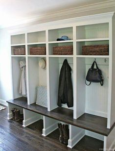 Mud Room - Love this design - the bottom is open for boots, individual spaces for gear and double shelves above. Mudroom Cubbies, Mudroom Laundry Room, Bench Mudroom, Garage Mudrooms, Door Bench, Kids Cubbies, Entryway Storage, Entryway Ideas, Entryway Bench