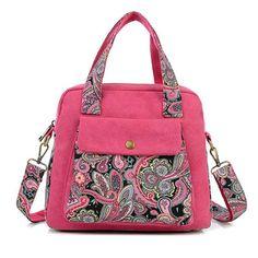 Women Messenger Bag Ethnic Style Print Flower Canvas Large Tote Fashion Shoulder bag New Top Quality Vintage Women Handbag QT-28
