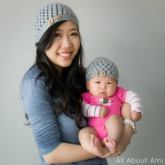 Matching crocheted mommy & baby hats - Free Pattern