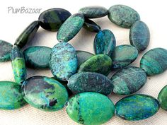 Magnesite stone beads, large oval shape, bright green and blue with black markings Bright Green, Oval Shape, Stone Beads, Turquoise Bracelet, Pendants, Shapes, Unique Jewelry, Handmade Gifts, Blue