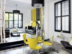 Black White And Yellow Living Room Google Search Walls Chairs