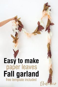 Have fun making an easy fall leaves garland. Grab the free template and start making paper leaves. Combine any autumn colors you like to create this simple fall decor. #diy #paper #leaf #garland Autumn Leaves Craft, Fall Leaf Garland, Diy Garland, Fall Leaves, Leaf Crafts, Fall Crafts, Easy Paper Crafts, Diy Paper, Paper Leaves