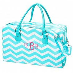 """Blue Chevron Weekender Bag - *You can add the matching Cosmetic Bag to this and make it a fabulous set! (see drop down menu below for pricing)  Mini Cosmetic is 8"""" L x 5"""" W x 4"""" H Large Cosmetic is 10"""" L x 7"""" W x 6"""" H"""