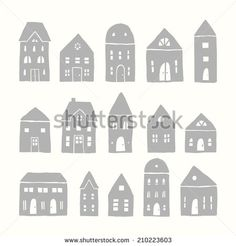 Set of 15 vector hand drawn houses - stock vector