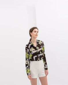 ZARA PRINTED BLOUSE WITH BUTTONS