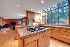 big open kitchen with large windows