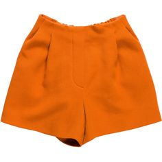 Pre-owned 3.1 Phillip Lim Wool High-Rise Shorts ($55) ❤ liked on Polyvore featuring shorts, orange, elastic high waisted shorts, high-waisted shorts, stretch waist shorts, high waisted zipper shorts and orange shorts