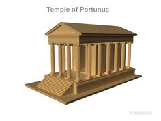 """Temple of Portunus 3D Model- This small temple on the banks of the Tiber was dedicated to the Roman god of rivers and seaports, Portunus. Originally this deity protected doors (""""portus"""") but when the meaning of the word changed to harbor, his guardian function also changed. It was built of tufa and travertine blocks which had been originally been coated with a fine layer of stucco. It is in a good state of preservation because it was converted to a Christian church in the 9th century.    The…"""