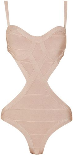Herve Leger Cutout Bandage Swimsuit in beige. Does the flat tummy come w/ the swimsuit? LOL!