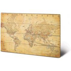 Gezien op beslist.nl: Wereldkaart - Vintage - Hout 59,0 x 43,0cm
