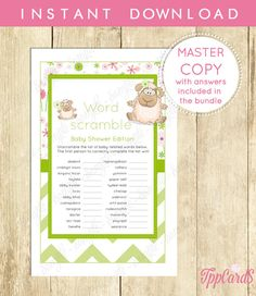 Instant Download Mint Lamb Word Scramble Baby Shower Game Cards Printable Word Scramble Gender Neutral Lamb Baby Shower Word Game by TppCardS #tppcards