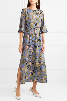 Stine Goya - Kirsten Floral-print Crepe De Chine Midi Dress - Blue