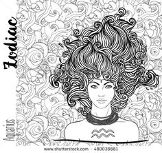Zodiac: Illustration of Aquarius zodiac sign as a beautiful girl. Vector art with portrait of a pretty girl. Black, white  drawing over ornate pattern. Horoscope coloring book page for adults.