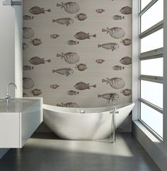 Fornasetti II Collection 'Acquario' by Cole & Son is an amazing imported decorative wallpaper, that will create an unique feature in your home The fish theme appears in some of the earliest Fornasetti