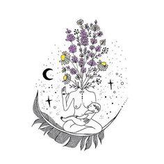 Beautiful nourishing illustration by — custom design for ✨ Art And Illustration, Illustrations, Inspiration Art, Art Inspo, Kunst Inspo, Moon Child, Painting & Drawing, Art Drawings, Art Photography