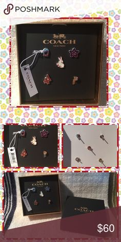"""Coach varsity mix and match earring set Beautiful and fun material: plated brass size: 1/4"""" x 1/2""""(L) can ware single or mixed set of 5 earrings brand new in box Coach Jewelry Earrings"""