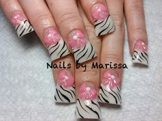 French Flared Acrylic nails with zebra design and 3D pink bows #by Marissa